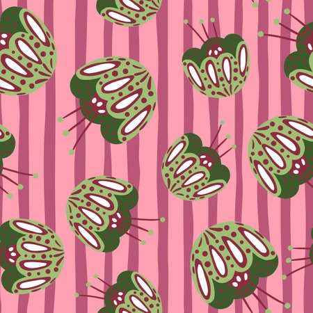 Botanic seamless pattern with floral folk flowers ornament shapes. Random green print on pink striped background. Designed for fabric design, textile print, wrapping, cover. Vector illustration.