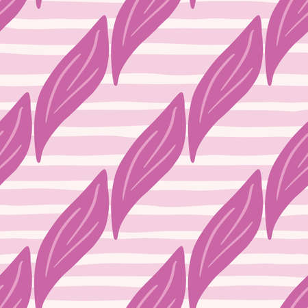 Diagonal pink leaf ornament seamless pattern in hand drawn style. Striped background. Floral ornament. Perfect for fabric design, textile print, wrapping, cover. Vector illustration. 일러스트