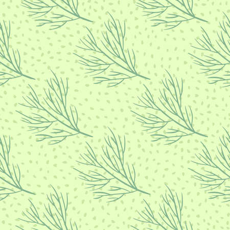 Abstract style seamless nature pattern with contoured green tree branches silhouettes. Dotted background. Perfect for fabric design, textile print, wrapping, cover. Vector illustration. 일러스트