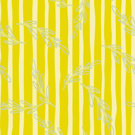 Exotic seamless pattern with botanic random contoured branches elements. Bright yellow striped background. Perfect for fabric design, textile print, wrapping, cover. Vector illustration. 일러스트