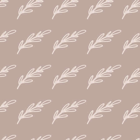 Simple style seamless pattern with hand drawn white branches shapes. Beige background. Doodle style. Designed for fabric design, textile print, wrapping, cover. Vector illustration. 일러스트