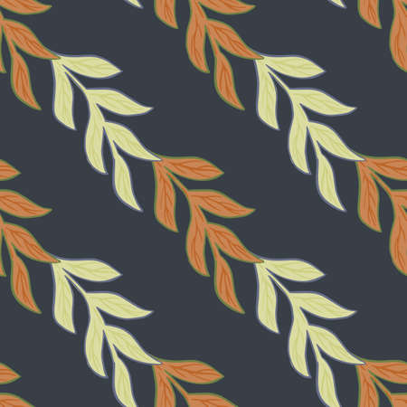 Decorative nature seamless pattern with orange colored branches leaves shapes. Navy blue background. Designed for fabric design, textile print, wrapping, cover. Vector illustration.