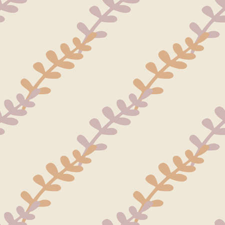 Minimalistic style seamless pattern with diagonal branches shapes ornament. Light tones. Hand drawn print. Decorative backdrop for fabric design, textile print, wrapping, cover. Vector illustration.