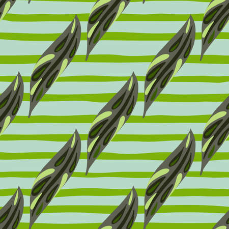 Spring foliage seamless pattern with green leaves print. Striped background. Hand drawn doodle print. Decorative backdrop for fabric design, textile print, wrapping, cover. Vector illustration