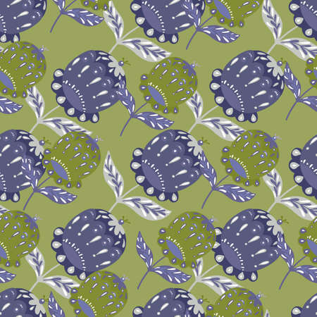 Pale colored seamless pattern with botany folk flower buds ornament. Purple and green olive palette artwork. Perfect for fabric design, textile print, wrapping, cover. Vector illustration.