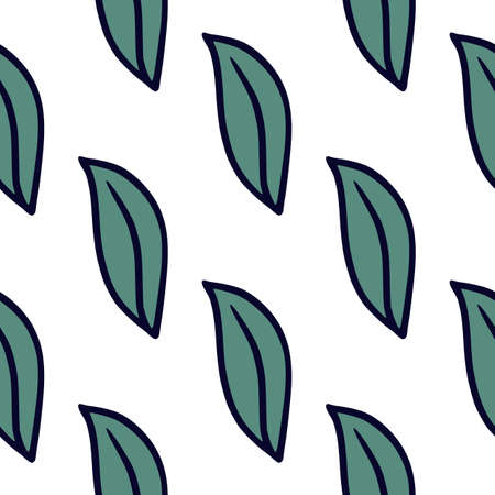 Isolated seamless doodle pattern with simple blue outline leaf ornament. White background. Simple design. Designed for fabric design, textile print, wrapping, cover. Vector illustration. 일러스트