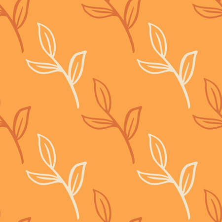 Contoured minimalistic floral leaves branches seamless doodle pattern. Orange pastel background. Decorative backdrop for fabric design, textile print, wrapping, cover. Vector illustration.
