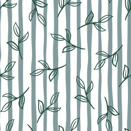 Seamless random botanic pattern with simple style leaves branches print. Striped white and blue backround. Decorative backdrop for fabric design, textile print, wrapping, cover. Vector illustration.