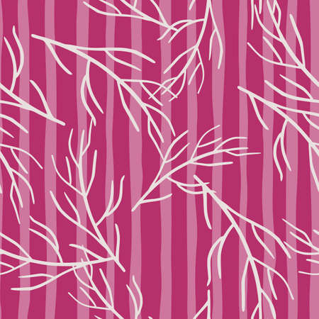 Nature bright seamless pattern with white random branches shapes print. Pink striped background. Doodle backdrop. Perfect for fabric design, textile print, wrapping, cover. Vector illustration.