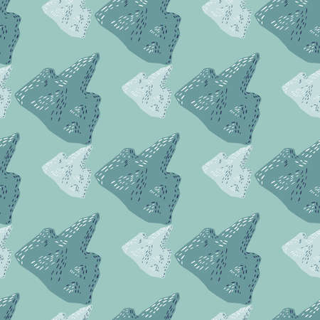 Geometric pastel tones seamless pattern with iceberg silhouettes in green tones. Arctic backdrop. Great for fabric design, textile print, wrapping, cover. Vector illustration.