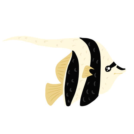 Fish Moorish Idol isolated on white background. Funny aquatic character in stripes in hand drawn style. Design vector illustration for any purposes.