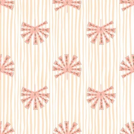 Geometric ornamental abstract monstera silhouettes seamless pattern. Pastel pink striped background. Designed for fabric design, textile print, wrapping, cover. Vector illustration. Vettoriali