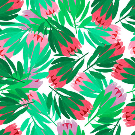 Nature seamless pattern with red and pink protea flowers elements. Isolated backdrop. Green leaves. Designed for fabric design, textile print, wrapping, cover. Vector illustration. Vettoriali