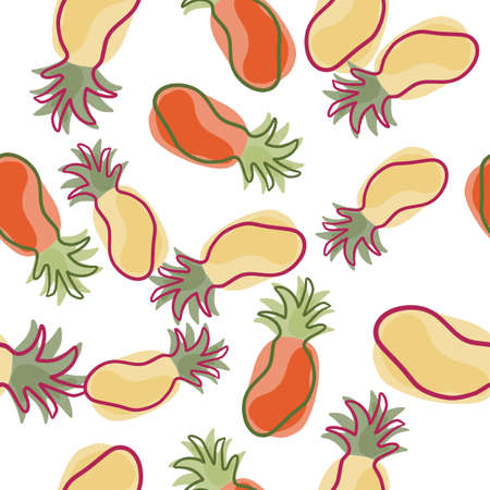 Isolated pineapples in beige and red colors seamless pattern. Abstract contoured fresh fruit silhouettes. Decorative backdrop for fabric design, textile print, wrapping, cover. Vector illustration. Vector Illustratie