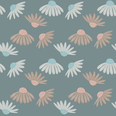 Meadow flowers seamless pattern with botanic daisy ornament. Blue pale background. Nature print. Designed for fabric design, textile print, wrapping, cover. Vector illustration.