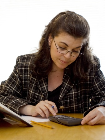applies: A woman applies herself to studying Stock Photo