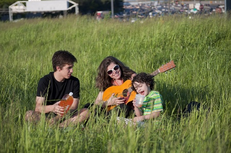A family sings and enjoys the spring time photo