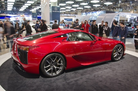 lfa: TORONTO-FEBRUARY 25: Exhibition of the Lexus LFA  during  the Canadian International Auto Show in  the Toronto Convention Centre on February 25, 2012. This time the show arrives to 38 years. Editorial