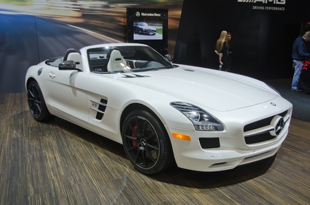 TORONTO-FEBRUARY 25: Exhibition of the  Mercedes Benz SLS AMG Roadster  during  the Canadian International Auto Show in  the Toronto Convention Centre on February 25, 2012. This time the show arrives to 38 years.