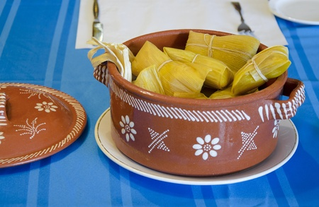 Latinamerican typical dish made of corn  tamal photo