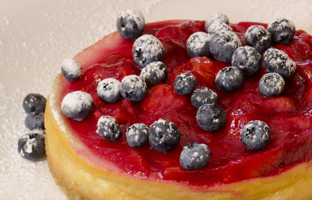 Delicious homemade cherry cheesecake decorated with blueberries photo