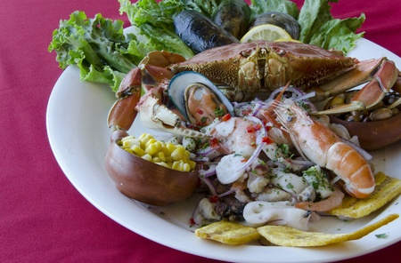 Peruvian traditional plate of assorted seafood. Stock Photo - 13144871