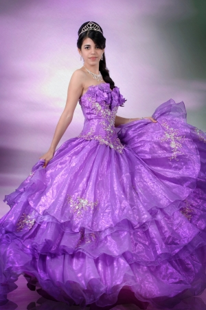 Pretty young girl wearing a purple dress