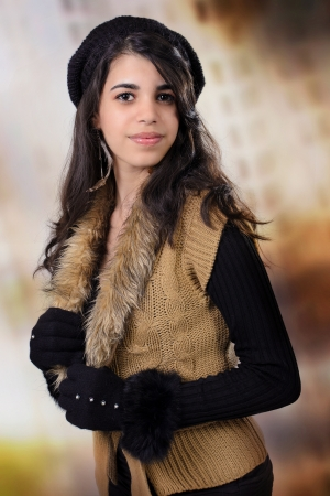 fifteen year old: Gorgeous Latin young adult wearing autumn outfit