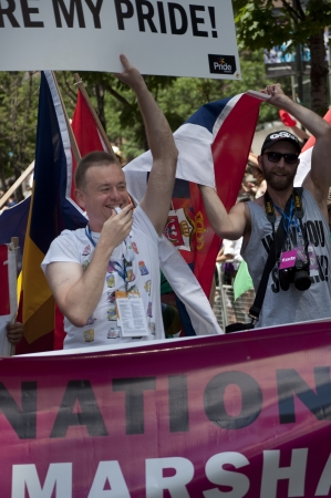 interviewed: Toronto, Canada - July 1, 2012: Goran Miletic - International Grand Marshal of the  Pride Parade- partaking in  the closing activity of the Torontos  Pride Festival which celebrates the history, courage, diversity and future of the Lesbian, Gay, Bisexual