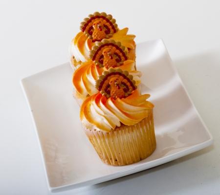 Row of three thanksgiving cupcakes on a white dish Stock Photo - 16145844