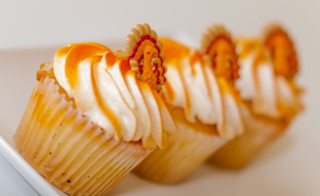 Row of three thanksgiving cupcakes on a white dish photo