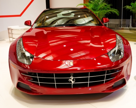 TORONTO-FEBRUARY 15: Exhibition of the  Ferrari FF  during  the Torontos International Auto Show 2013. The show is arriving to 40 years this 2013.