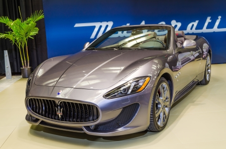 TORONTO-FEBRUARY 15: Exhibition of the   Maserati Grand Turismo Convertible Sport  during  the Torontos International Auto Show 2013. The show is arriving to 40 years this 2013. Editorial