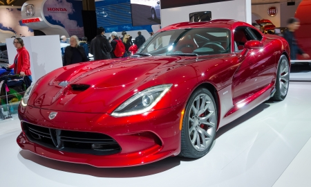 TORONTO-FEBRUARY 15: Exhibition of the  Viper SRT  during  the Torontos International Auto Show 2013. The show is arriving to 40 years this 2013.