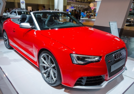 TORONTO-FEBRUARY 15: Exhibition of the Audi RS 5 Cabriolet  during  the Torontos International Auto Show 2013. The show is arriving to 40 years this 2013.