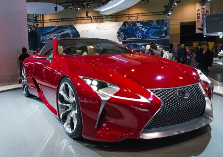 TORONTO-FEBRUARY 15: Exhibition of the Lexus LF-LC  during  the Torontos International Auto Show 2013. The show is arriving to 40 years this 2013.