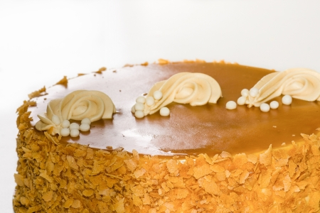 mouth watering: Beautiful and mouth watering caramel and apple cake Stock Photo