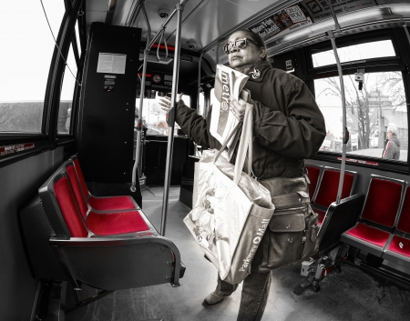 Toronto, Canada - March 27: Woman riding the TTC or Toronto Transit Commission a transportation system to be renew, redesigned and modernized in the following years. As seen on March 27, 2013 in Toronto, Canada.