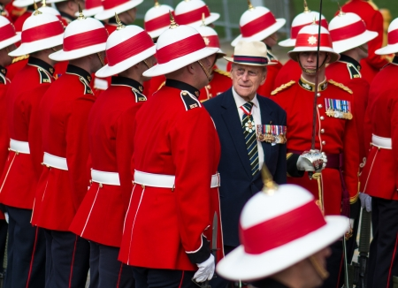 TORONTO-APRIL 27: Prince Philip, Duke of Edinburgh presents new Colours to The Royal Canadian Regiment.  The ceremony takes place as  Toronto celebrates the 200 anniversary of The Battle of York; as seen in Toronto April 27, 2013
