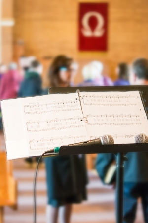 worship service: View from the stage of the musical partiture for praising Christ