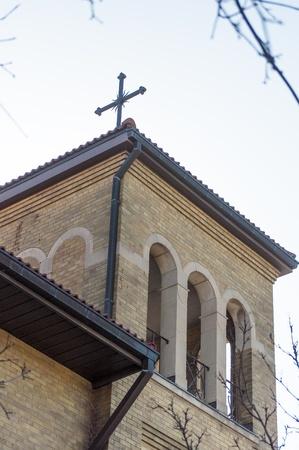 その建築と建設のローマ カトリック教会の詳細の外部表示 写真素材