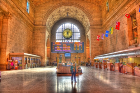 TORONTO - JULY 1  Union Station the busiest passenger transportation facility in Canada  It serves 200,000 passengers a day  As seen on July 1, 2013 in Toronto, Canada