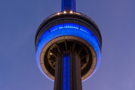 TORONTO - AUGUST 9   CN Tower at Night  One of the highest structures in the world and a tourist landmark as shown on August 9, 2011 in Toronto, Canada