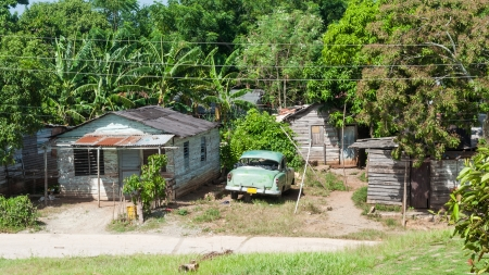 Right behind the Ernesto Guevara Memorial there is one of the poorest neighborhoods in Santa Clara city, Cuba photo