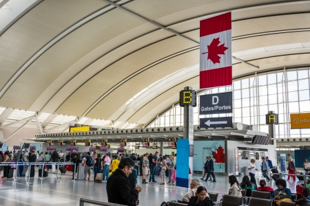 TORONTO - AUGUST 15  Pearson International Airport  One of largest and busiest airport in the world  About 1100 planes take off or land in a day  As seen August 15, 2013 in Toronto, Canada