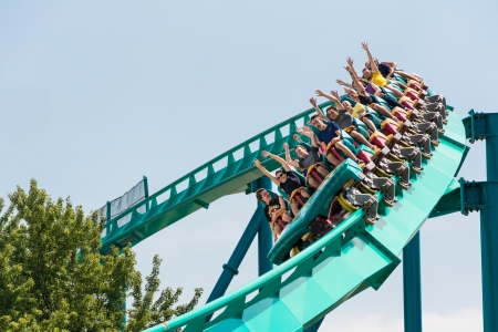 rides: TORONTO - AUGUST 17  The Leviathan one of the biggest and tallest roller coasters in the world  This roller coaster dominates Wonderland