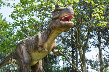 Exhibition of different dinosaurs in an outdoor park