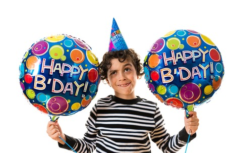 birthday party kids: Hispanic child over a white background  Happy birthday theme  Boy showing differend facial expressions related to a birthday party
