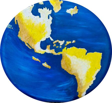 continente americano: Mapa hecho a mano del mundo que muestra especialmente el continente americano de norte a sur