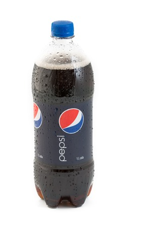 TORONTO,CANADA - FEBRUARY 25 , 2013: 1000 ml Pepsi Bottle on white background. Pepsi is one of the most popular softdrinks in the world and it is sold almost anywhere